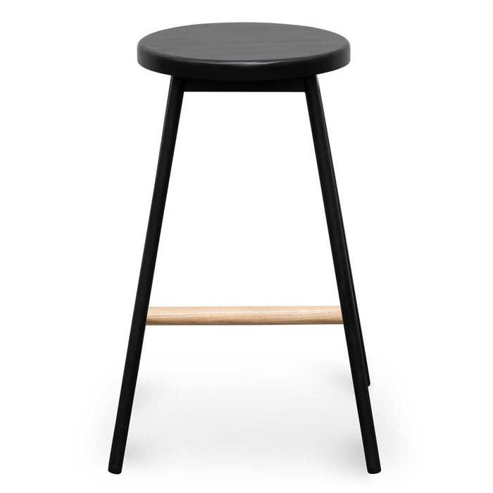 Leo Timber Seat Bar Stool - Black