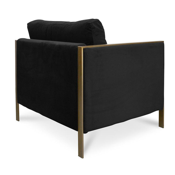 Leona Fabric ArmChair - Black Velvet