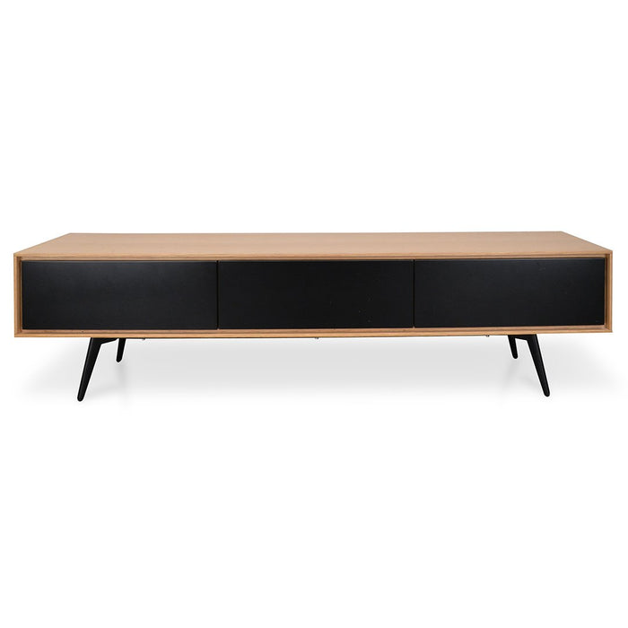 Liam 180cm TV Unit With Black Drawers - Natural