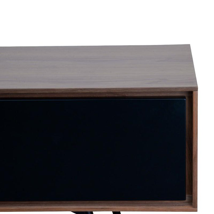 Liam 180cm TV Unit With Black Matt Drawers - Walnut