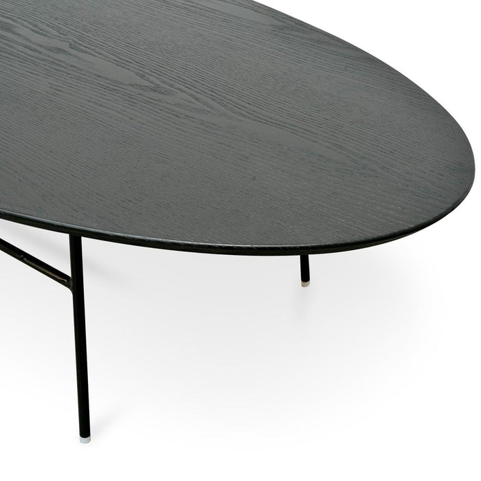 Linda 117.5cm Coffee Table - Black Ash Veneer - Black Legs