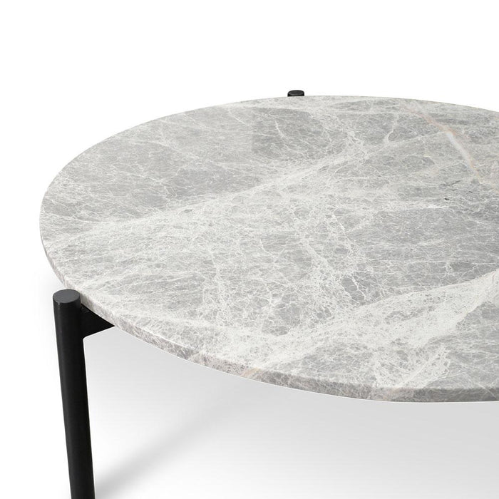 Linus 58cm Round Grey Marble Coffee Table