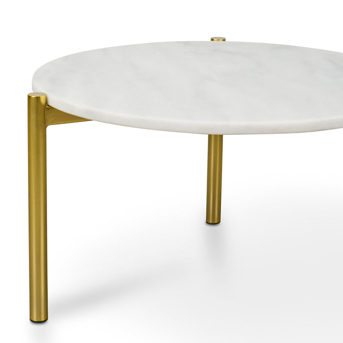 Linus 58cm Round White Marble Coffee Table