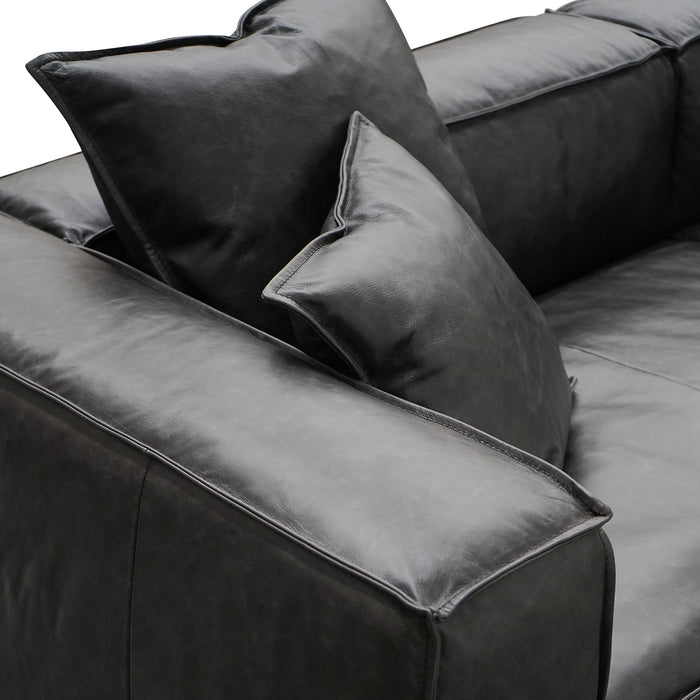 Loft 3 Seater Sofa with Cushion and Pillow - Charcoal Leather