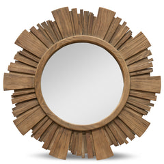 Lora 86cm Recycled Elm wood Round Mirror