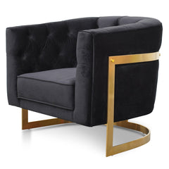 Lorena Armchair in Black Velvet - Brushed Gold Base