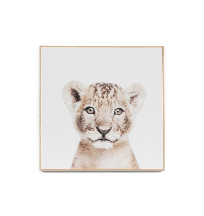 Lovable Cub Natural Framed Canvas Wall Art Print