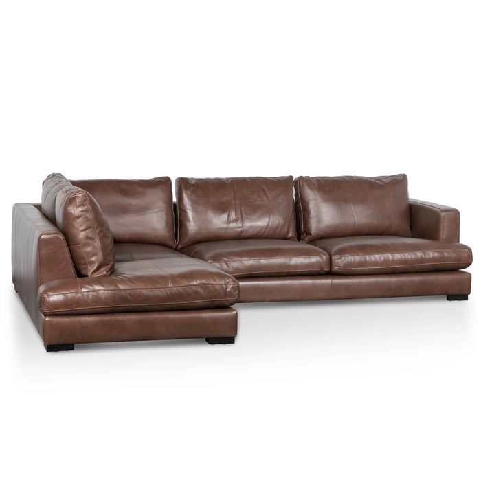 Lucinda 4 Seater Left Chaise Sofa - Mocha Brown Leather
