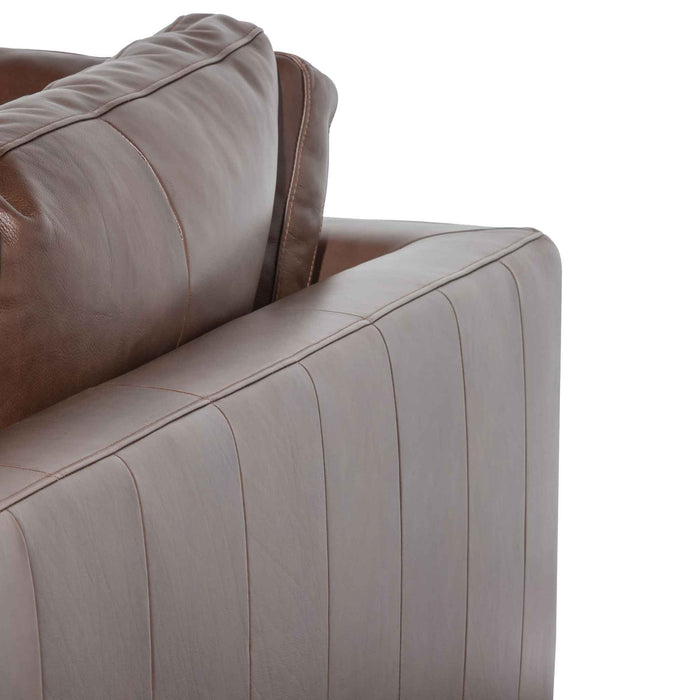 Lucinda 4 Seater Right Chaise Sofa - Mocha Brown Leather