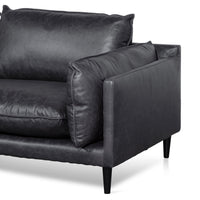 Lucio 4 Seater Left Chaise Sofa - Charcoal Leather