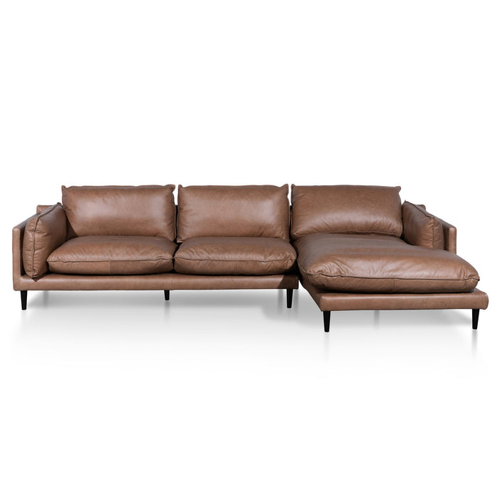 Lucio 4 Seater Right Chaise Leather Sofa - Saddle Brown