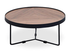 Luna 60x33cm Round Coffee Table - Walnut Top - Black Frame