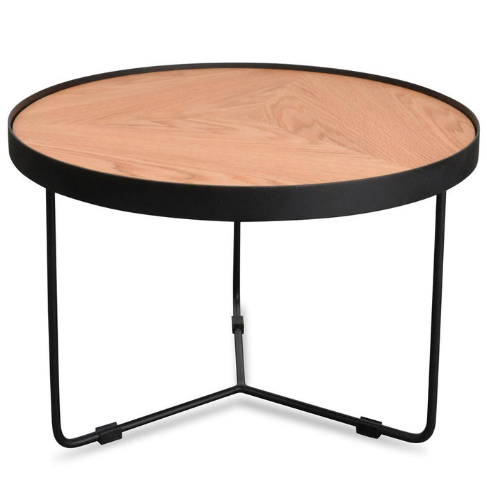 Luna 60x41cm Round Coffee Table - Natural Top - Black Frame