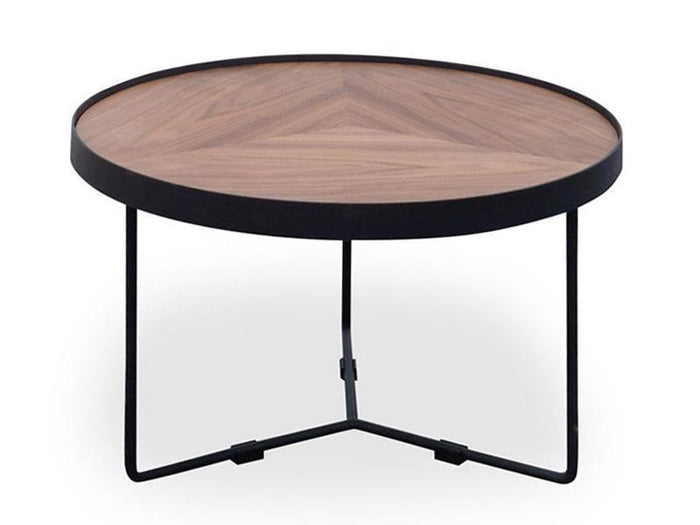 Luna 60cmx41cm Round Coffee Table - Walnut Top - Black Frame