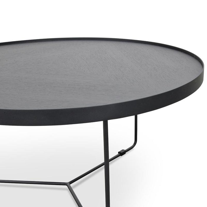 Luna 90cm Round Coffee Table - Black Oak Top - Black Frame