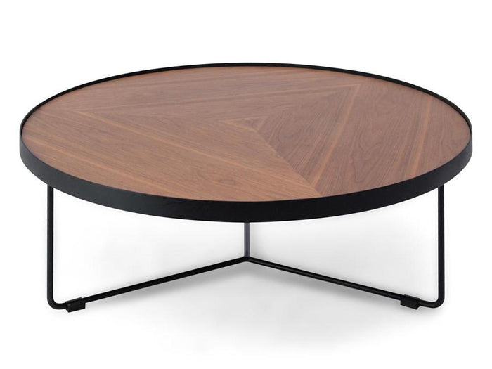 Luna 90cm Round Coffee Table - Walnut Top - Black Frame