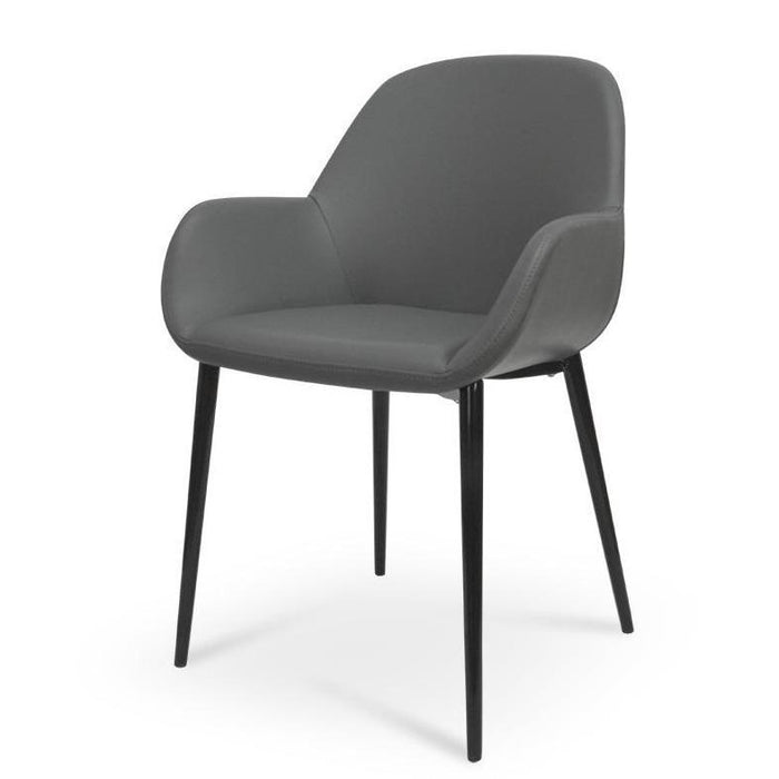Lynton Dining Chair in Charcoal Grey With Black Legs