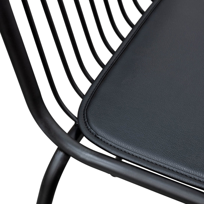 Maddox 75cm Bar Stool - Black PU Pad - Black Base