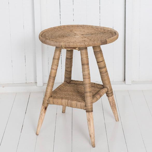 Mangrove Cane Round Outdoor Side Table - Natural