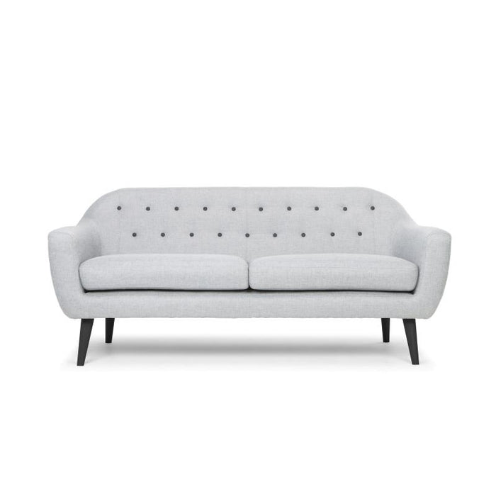 Malena 3 Seater Sofa in Grey With Black Legs