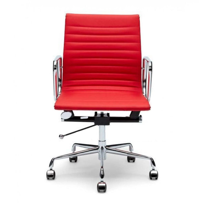 Management Leather Boardroom Office Chair - Eames Replica - Red