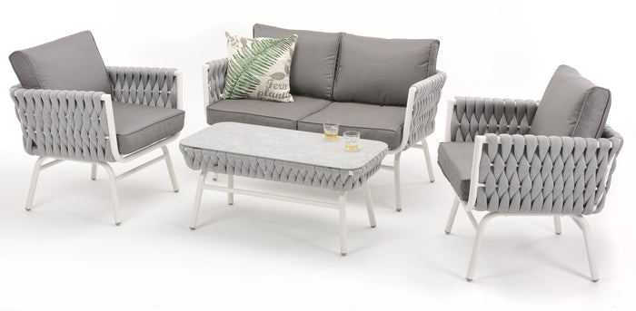 Marley 4 Piece Olefin Outdoor Lounge Set - Grey
