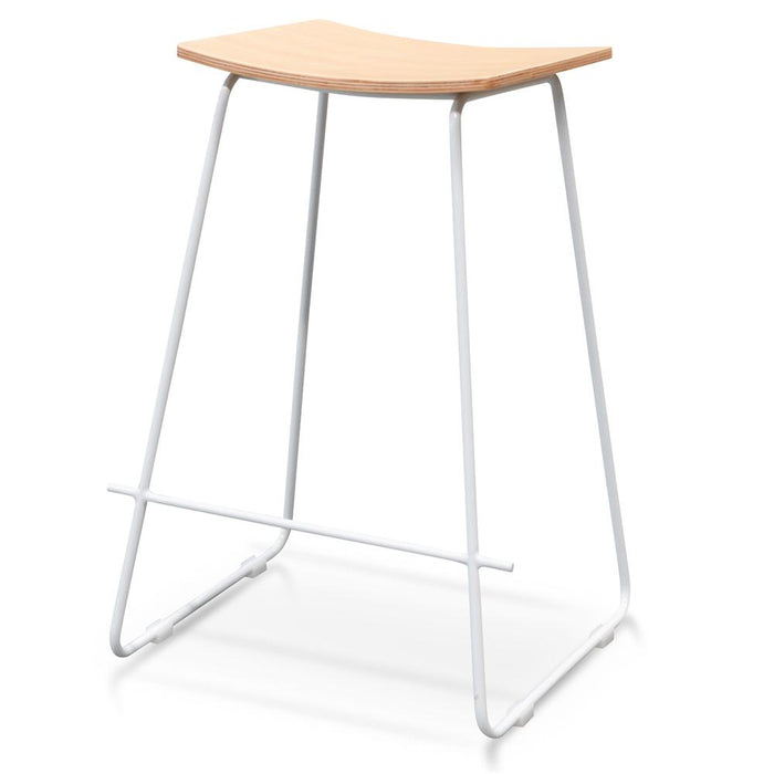 Marley Bar Stool With  Natural Timber Seat - White Frame