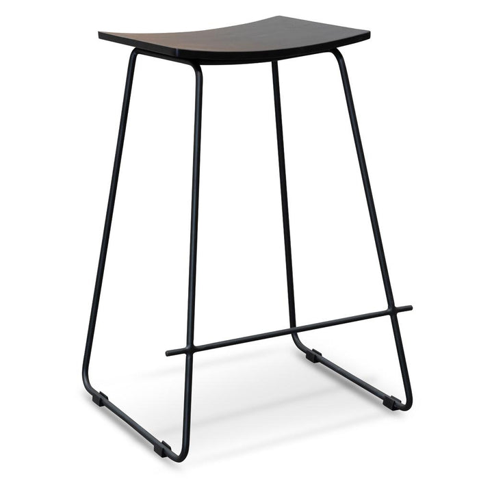 Marley 65cm Timber Seat Bar Stool - Black