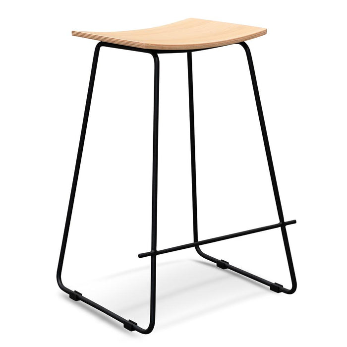 Marley Natural Timber Seat Bar Stool - Black Frame