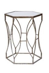 Massima Side Table Mirror Top and Silver Guilt Base