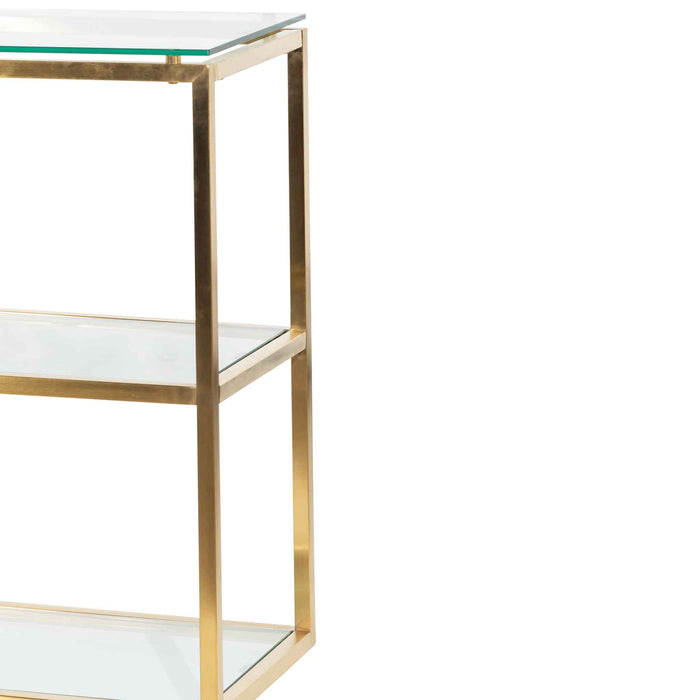 Maureen 1.4m Glass Console Table - Brushed Gold Base