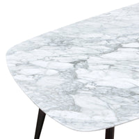 Maxwell White 1.8m Marble Dining Table - Black Legs