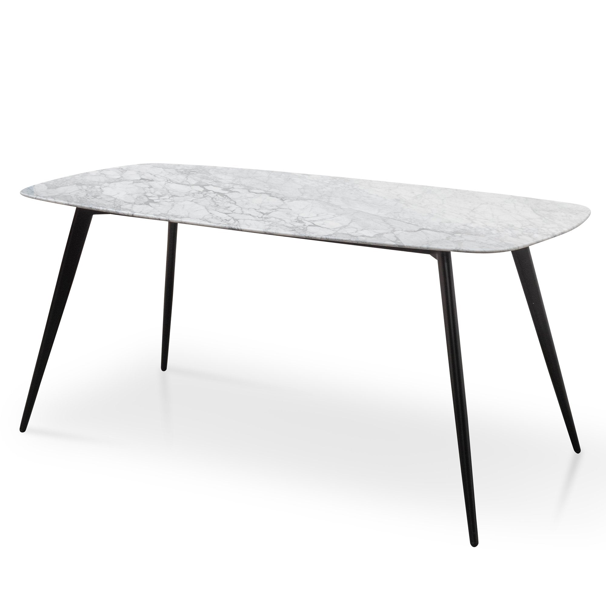 Maxwell 1 8m White Marble Dining Table Black Legs Interior Secrets