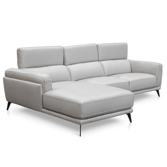 Mendoza 3 Seater Leather  Left Chaise Sofa - Light Grey
