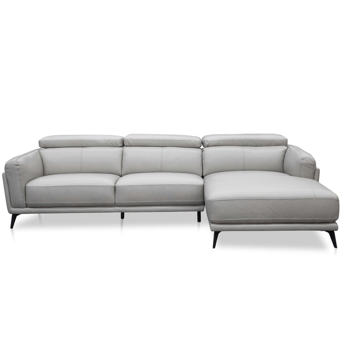 Mendoza 3 Seater Leather  Right Chaise Sofa - Light Grey