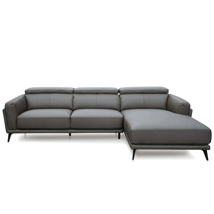 Mendoza 3 Seater Right Chaise Sofa - Dark Grey Leather