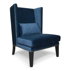 Mercer Velvet Lounge Wingback Chair in Navy Blue