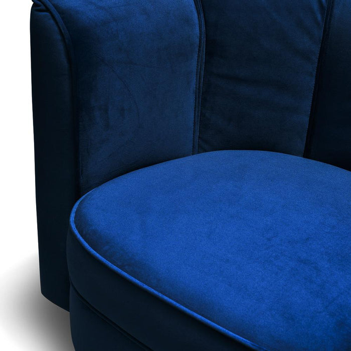 Molly Blue Velvet Armchair - Black Base