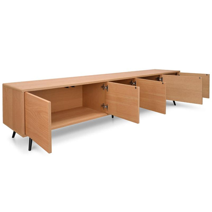 Ex Display - Nelson 2.4m Wooden TV Entertainment Unit - Natural - Black Legs
