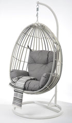 New Moon Wicker Outdoor Hanging Egg Chair - White