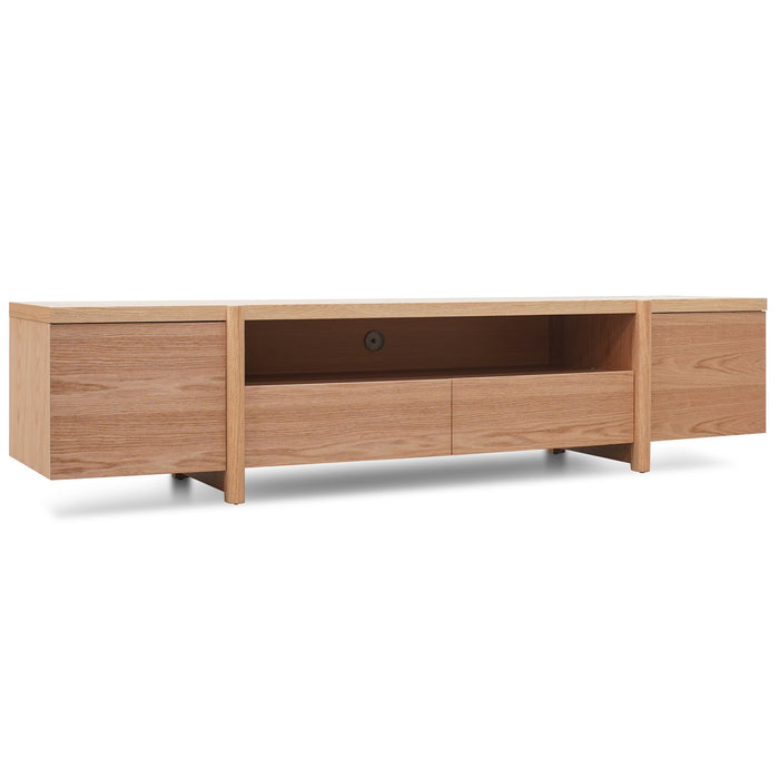 New York 2.1m Lowline Wooden Entertainment TV Unit - Full Natural