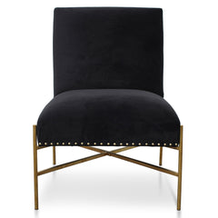 Nikon Lounge Chair In Black Velvet - Brushed Gold Base