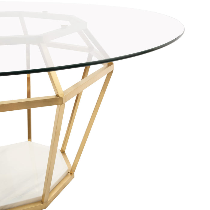 Noosa 1.4m Diameter Round Dining Table - Brushed Gold Base