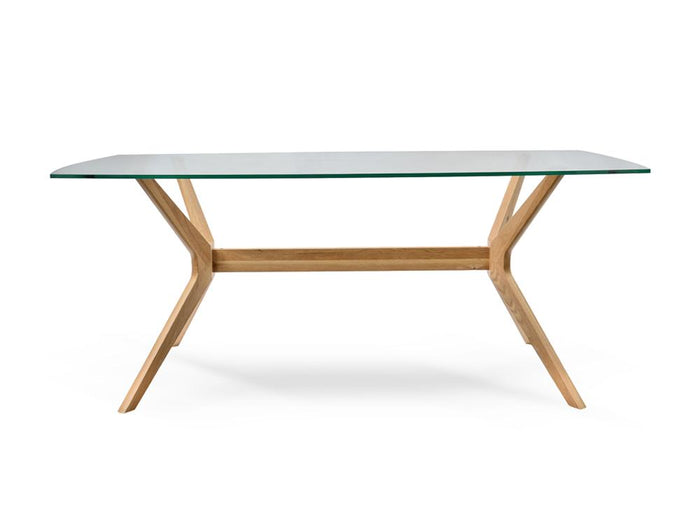 Nora 1.85m Glass Dining Table - Natural