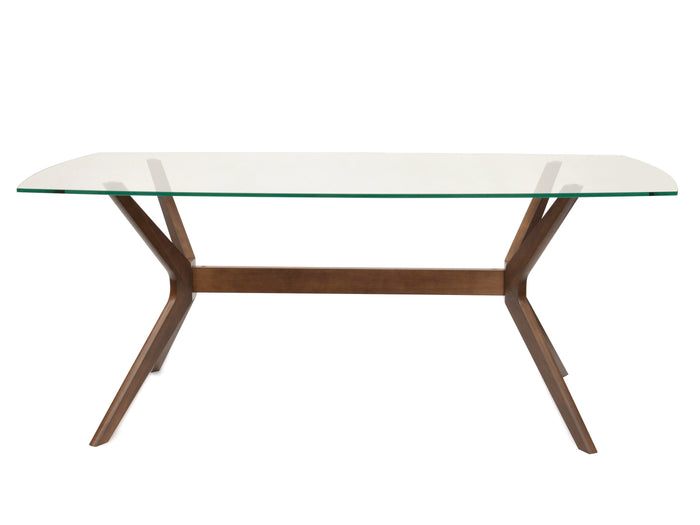 Nora 1.85m Glass Dining Table - Walnut