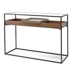 Norman Metal Frame Glass Console - Walnut