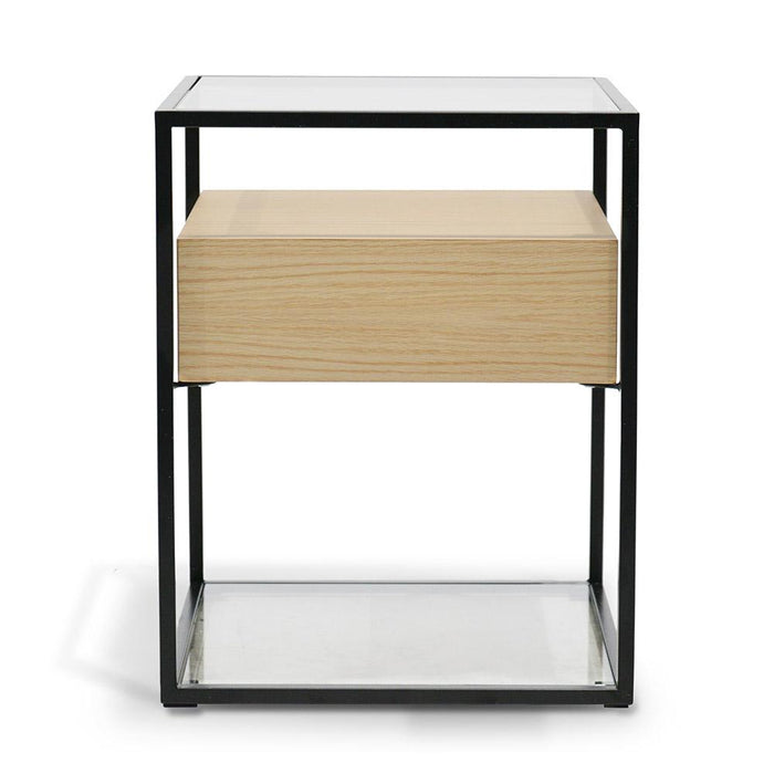 Norman Scandinavian Side Table - Oak - Black Frame