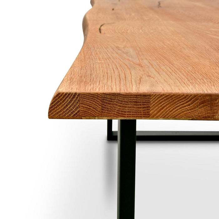 Orlando 2.2m Dining Table - Rustic Oak Veneer - Metal Legs