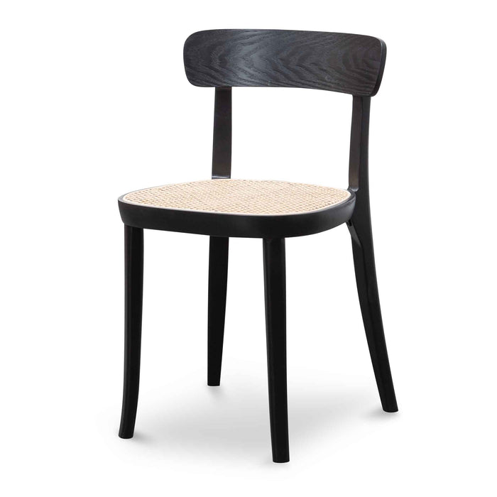 Orval Rattan Dining Chair -  Black with Natural Seat