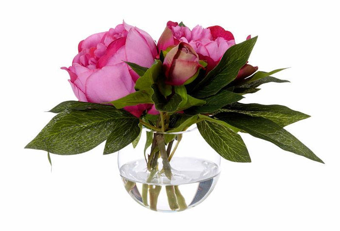Peonies Flowers Hot Pink In Bowl Artificial Plant